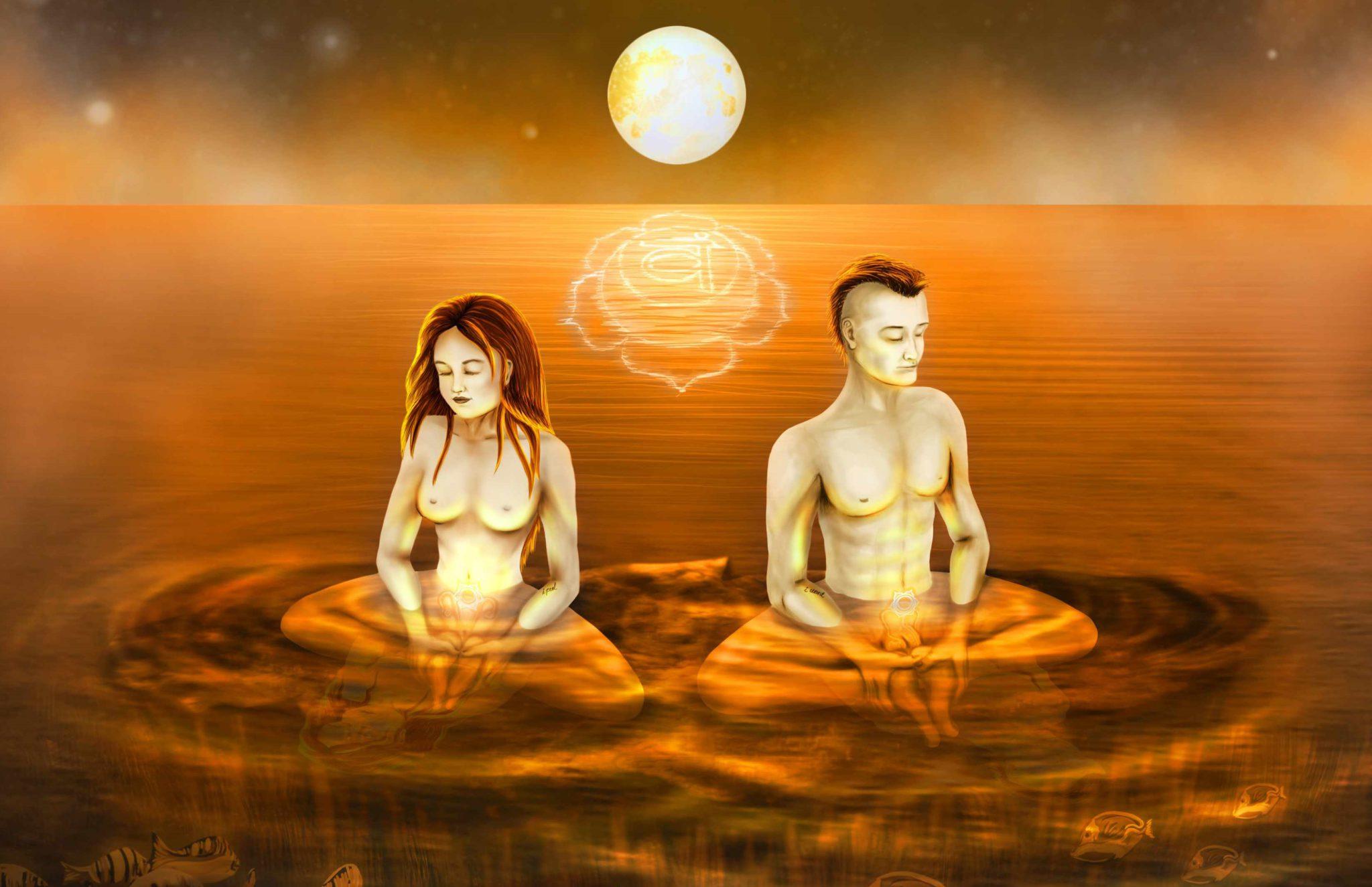Сакральная центр желания и сексуальности оранжевая расположена чуть ниже пупка